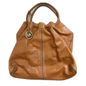 Michael Kors Brown Studded Hobo Shoulder Bag